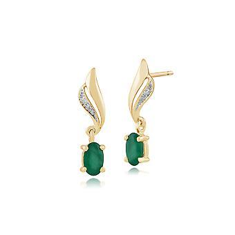 Klassische Oval Smaragd & Diamant Tropfen Ohrringe in 9ct Gelbgold 135E1154039