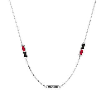 University Of Louisville Sterling Silver Engraved Triple Station Necklace In Red & Black
