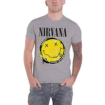 Nirvana T Shirt Face Splat Band Logo Nevermind new Official Mens Grey