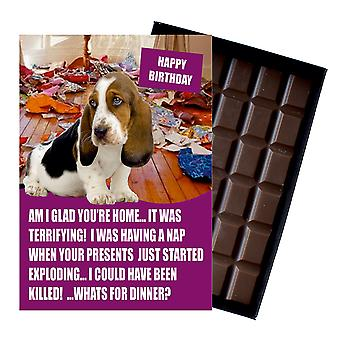 Bassett Hound Funny Birthday Gifts For Dog Lover Boxed Chocolate Greeting Card Présent