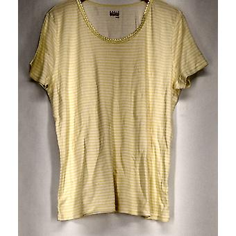 Basic Edition Short Sleeve Scoop Neck Embellished Tee Yellow Top