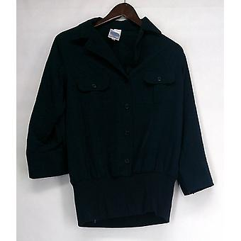 Diane Gilman Mixed Media Button Front Top Navy Blue Womens 384-968