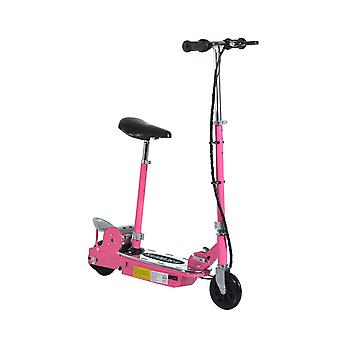HOMCOM 120W Teens Foldable E-Scooter Kids Electric Scooters 24V Rechargeable Battery Adjustable Ride on Outdoor Toy (Pink)