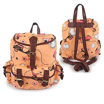 Miss K. Vintage Collection Stylish Canvas Backpack - Scoot Yellow