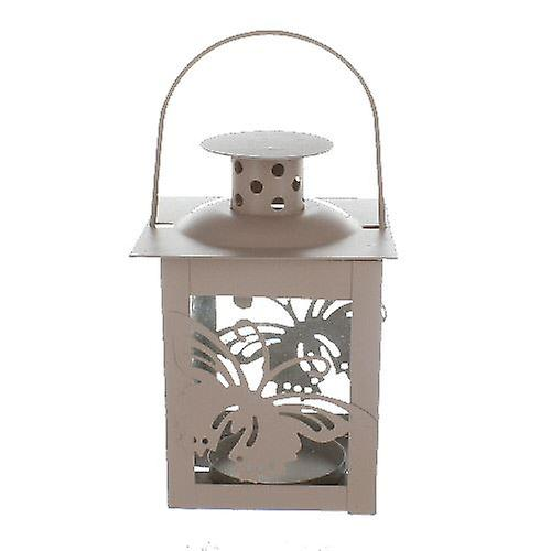 Butterfly Candle Holder Lantern Beige