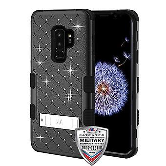 MYBAT Natural Black/Black FullStar TUFF Hybrid Case(w/ Stand) for Galaxy S9 Plus