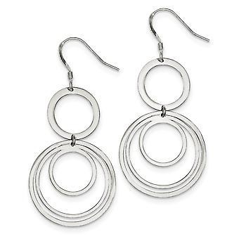 925 Sterling Silver Shepherd crochet poli Circle Fancy Long Drop Dangle Boucles d'oreilles Bijoux Bijoux pour les femmes