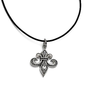 Stainless Steel and Polished Fleur De Lis Necklace 20 Inch Jewelry Gifts for Women