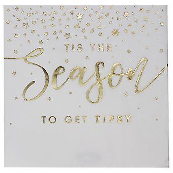 'Tis the Season' Christmas Gold Foil Paper Party Napkins x 16