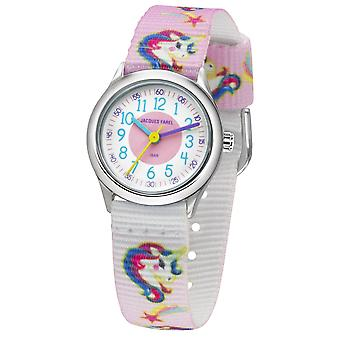 JACQUES FAREL Kids Wristwatch Analog Quartz Girl Textile Ribbon HCC 042 Unicorn