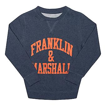 Infant Boys Franklin And Marshall F And M Sweater In Denim- Ribbed Cuffs, Collar