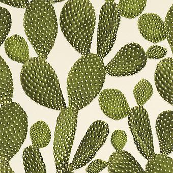 Cactus Wallpaper - Green and Cream - Rasch 441000