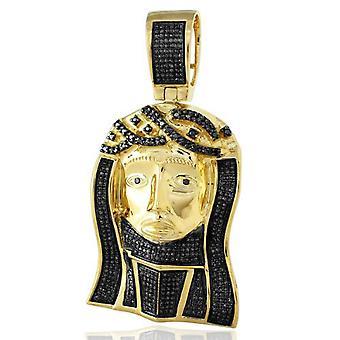 Dazzlingrock Collection 1,50 Carat (CTW) żółta platerowana Micro Pave Black Diamond mężczyźni Religijne Jesus Head wisiorek, srebro
