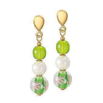 Eternal Collection Chiara Green Murano lasi kulta sävy pudota ruuvi takaisin Clip korva korut