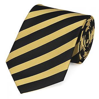 Tie stropdas tie stropdas 8cm geel zwart gestreept Fabio Farini