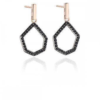 Fiorelli Silver Revised Black Pave Open Shape Earrings E5453B