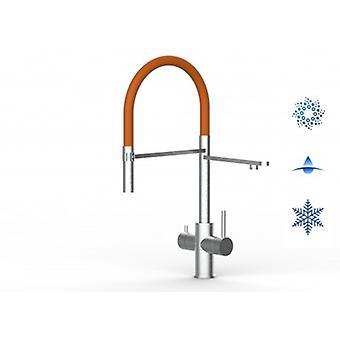 5-vägsinox filter kran idealisk för Professionella gnistrande, släta och kylda vattensystem-borstad finish-orange-448