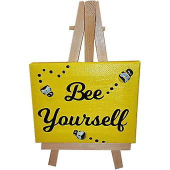 Bee Yourself Canvas & Stand Yellow by Wee Bee Gifts