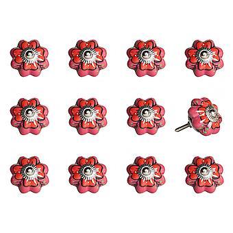 """1.5 """"x 1.5"""" x 1.5 """"roze, rood en groen-knoppen 12-pack"""