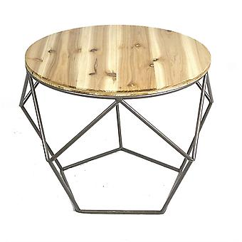 Geometrical Metal Accent Table with Wood Top, Brown and Black