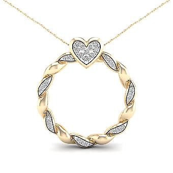 IGI Certified 10K Yellow Gold 0.10ct TDW Diamond Circle Heart Necklace
