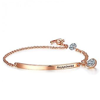 14k rose-gold plated happiness quoted bracelet