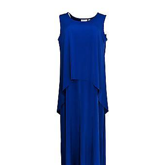 Susan Graver Dress Liquid Knit Tiered Maxi Blue A308252