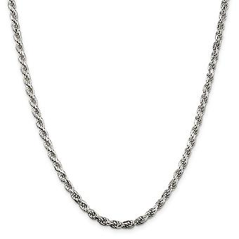 925 Sterling Silver Rhodium plated 3.5mm Sparkle Cut Rope Chain Necklace Jewelry Gifts for Women - Length: 18 to 30