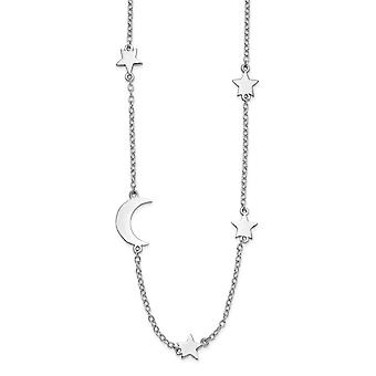925 Sterling Silver Rhodium plated Stars and Celestial Moon With 2inch Ext. Necklace 16 Inch Jewelry Gifts for Women