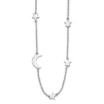 925 Sterling Silver Rhodium vergulde sterren en hemelse maan met 2inch Ext. Ketting 16 Inch Sieraden Geschenken voor vrouwen