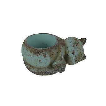 Ceramic Aged Turquoise Sleeping Cat Planter Rustic Succulent Pot Garden Decor