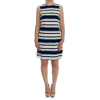 Rochie Dolce & Gabbana Blue White Striped Silk Stretch Shift Shift