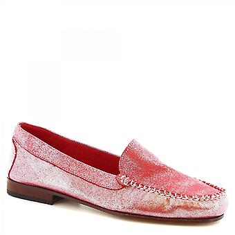 Leonardo Shoes Women's handmade loafers shoes pink calf leather glitter effect