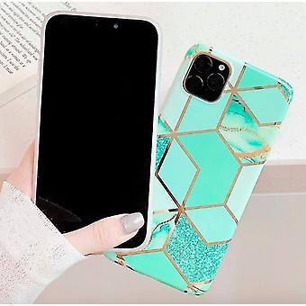 Mobile shell for iPhone 11 with turquoise marble pattern