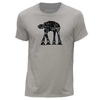 STUFF4 Men's Round Neck T-Shirt/Imperial Walker AT-AT/Light Grey