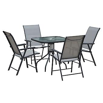 Outsunny 5pcs Classic Outdoor Dining Set Steel Frames w/ 4 Folding Chairs Glass Top Table Texteline Seats Parasol Hole Garden Dining Black Grey