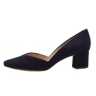 Högl 7-10 4522 Clarity Stylish Pointed Toe Suede Court Shoes In Navy Suede
