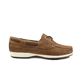 Dubarry Elba Chestnut Brown Nubuck Leather Womens Lace Up Moccasin Deck Shoes