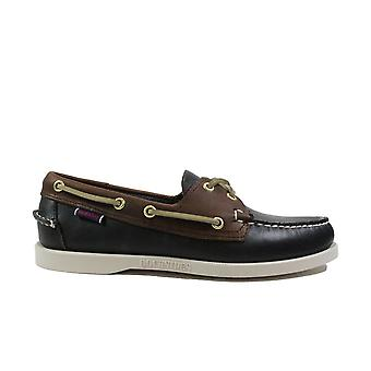 Sebago Mapple 7002T60 Navy Waxed Leather Mens Lace Up Boat Shoes