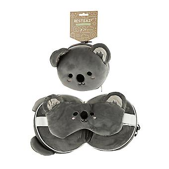 Resteazzz Plush Cutiemals Koala Travel Pillow & Eye Mask