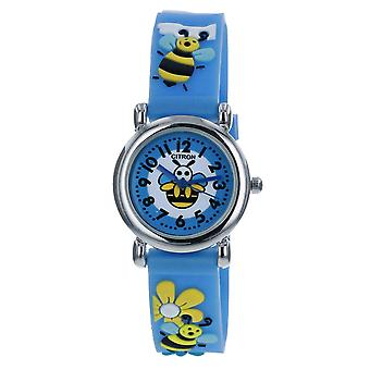 Citron KID166 Analogue Girls 3D Black & Yellow Bumble Bee Motiff Blue Silicone Strap Watch