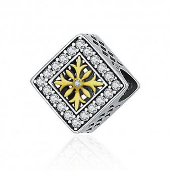 Sterling Silver Charm Square Snowflake - 5953