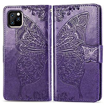 Farfalla Amore Fiori Pelle Folio Per iPhone 11 Pro Max ,Holder,Slot di carte,Wallet,Lanyar,Viola scuro