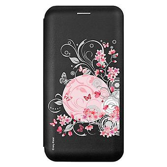 Case For Samsung Galaxy A71 Black Pattern Flowers And Butterflies