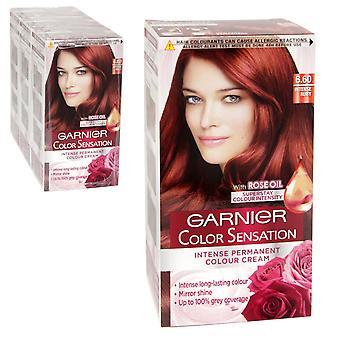 3 x Garnier Color Sensation Intense Permanent Colour Cream 6.60 Intense Ruby