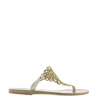 Antichi sandali greci Fokidaoffwhitematteplat donne's White Leather Sandals