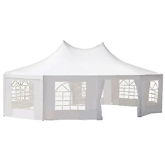 Outsunny 10 Sides Decagonal Garden Gazebo Marquee Party Tent Wedding Canopy Outdoor Heavy Duty Metal Frame (8.9m x 6.5m) - White