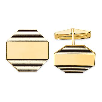 14k Yellow Gold Polished Engravable Cuff Links Jewelry Gifts for Men - 8.1 Grams