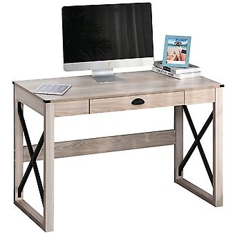 HOMCOM Retro Inspired Work Desk Station Home Office w/ Drawer Large Tabletop Stylish Smooth Beautiful 76x112cm Natural
