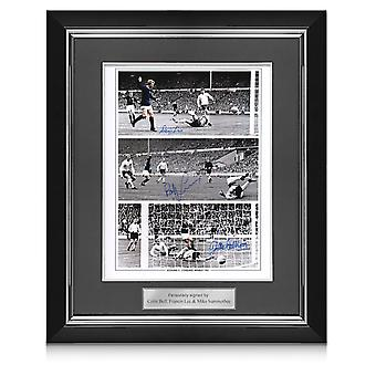 Scotland Photo Signed By Denis Law, Bobby Lennox And Jim McCalliog. Deluxe Framed